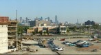 Construction of Parkland Parking Garage with Dallas Skyline
