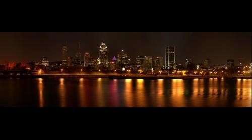 Montreal Night Skyline panoramic view