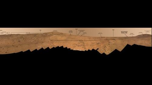 Full-Circle 'Bonestell' Panorama from Spirit (Annotated)