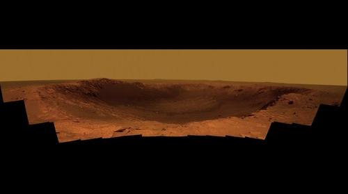 Color Panorama of 'Santa Maria' Crater for Opportunity's Anniversary