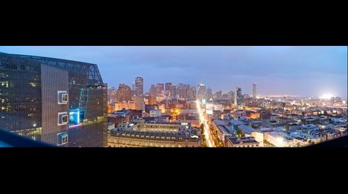 San Francisco Federal Building and Panorama from the SOMA Grand at Dusk