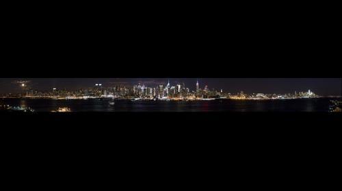 New York, NY Panorama with full moon
