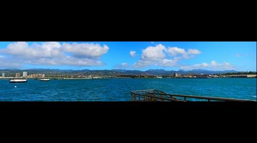 View from USS Missouri over Peral Harbor