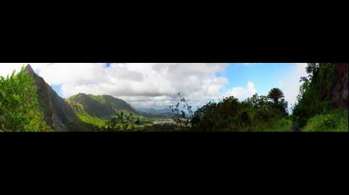 View from old street, Pali Pass, Oahu, Hawaii