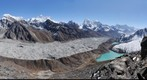View over Gokyo village and Gokyo lakes from top of Gokyo Ri