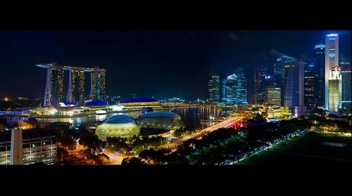 Singapore City Night Scene