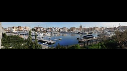 France Le Cap d'Agde, les quais du port vue de la villa sur ( the docks to the villa on the island ) l'ile Saint Martin