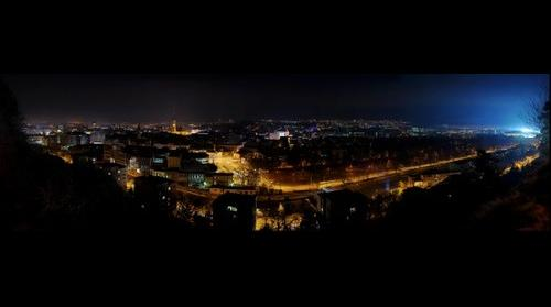 Panoramic view of the city of Cluj-Napoca (Kolozsvár, Klausenburg) at night. Transylvania, Romania