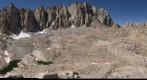 Mt Whitney ridge line and south east face as seen from Wotan's Throne: Mt Muir, the Needles, Keeler, 97 switchbacks, Pinnacle Ridge, Mt Russell, south east face valley