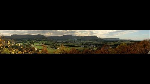 vue sud Albtrauf von Kaepfle, Alteburg, Bronnweiler, Reutlingen, Germany