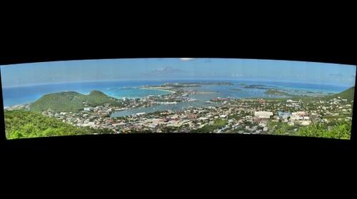 Higher View of Cole Bay, Simpson Bay & Lagoon, Princess Juliana Airport SXM, the Lowlands and Sandy Ground