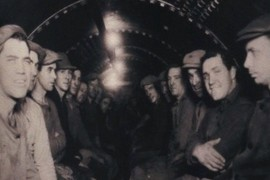 Workers in decompression chamber.