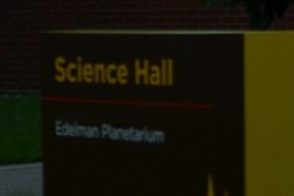 Science Hall sign.