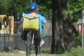 A recumbent bicycle rider