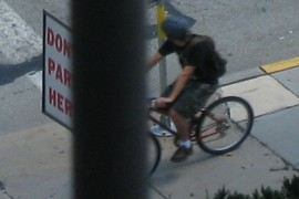 Biker headed down the Boulevard...